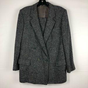 Burberry Silk & Alpaca Knit Blazer Skirt Suit Set